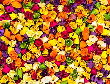 Multi-coloured farfalle pasta