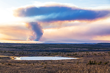 A plume of smoke from the Oregon Lakes wildfire rises high into the sky near Delta Junction in 2019; Alaska, United States of America