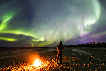 Watching the aurora borealis beside a campfire on Jarvis Creek in Delta Junction; Alaska, United States of America