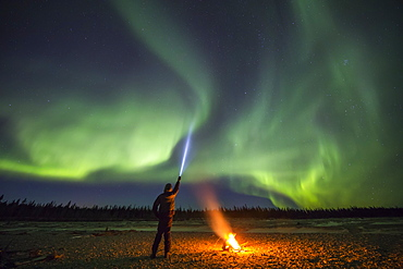 An observer watching the aurora borealis points his flashlight into the sky beside a campfire on Jarvis Creek in Delta Junction; Alaska, United States of America