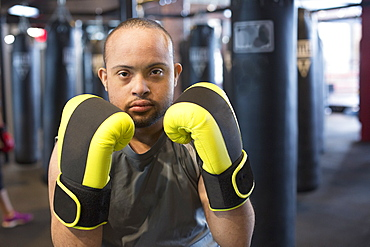 Man with Down Syndrome boxing