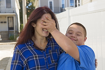 Teen who has Down Syndrome with his friend