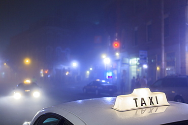 Taxi cab in the city in Boston
