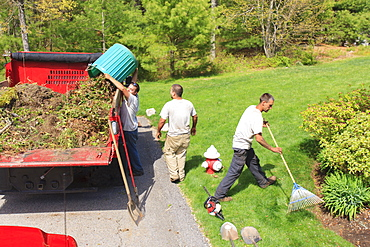 Landscapers clearing weeds and emptying them into a truck