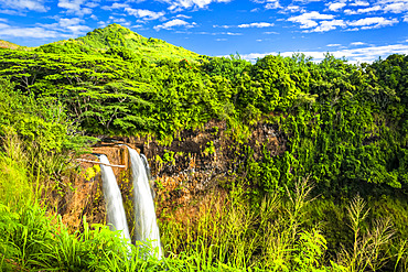 Wailua Falls drop down the cliff in lush green rainforest; Lihue, Kauai, Hawaii, United States of America