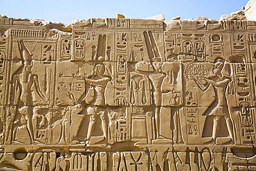 Wall of Reliefs, Karnak Temple Complex, UNESCO World Heritage Site; Luxor, Egypt