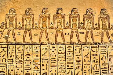 Reliefs, Hieroglyphics, Tomb of Ramses V & VI, KV9, Valley of the Kings, UNESCO World Heritage Site; Luxor, Egypt