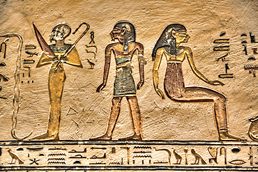 Relief, Tomb of Ramses V & VI, KV9, Valley of the Kings, UNESCO World Heritage Site; Luxor, Egypt