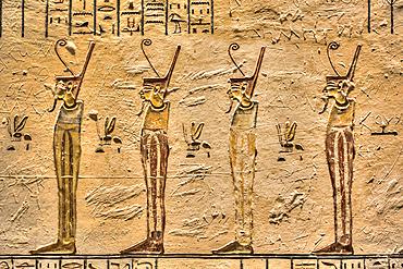Relief of Pharaohs, Tomb of Ramses V & VI, KV9, Valley of the Kings, UNESCO World Heritage Site; Luxor, Egypt