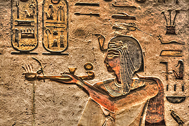 Relief of the Pharaoh, Tomb of Ramses III, KV #11, Valley of the Kings, UNESCO World Heritage Site; Luxor, Egypt