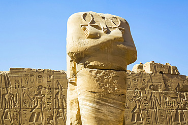 Statue of headless Pharaoh with Anks, Karnak Temple Complex, UNESCO World Heritage Site; Luxor, Egypt