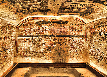Frescoes, Burial Chamber, Tomb of Ramses IX, KV6, Valley of the Kings, UNESCO World Heritage Site; Luxor, Egypt