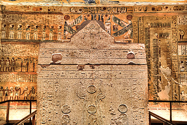 Sarcophagus in Burial Chamber, Tomb of Ramses IV, KV2, Valley of the Kings, UNESCO World Heritage Site; Luxor, Egypt