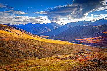 Brooks Mountains and Kuyuktuvuk Creek Valley in fall colours under blue sky. Gates of the Arctic National Park and Preserve, Arctic Alaska in autumn; Alaska, United States of America
