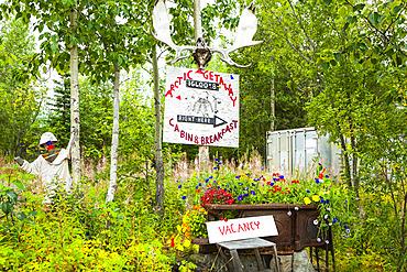 Arctic Getaway Bed and Breakfast Signage, Arctic Alaska in autumn; Wiseman, Alaska, United States of America