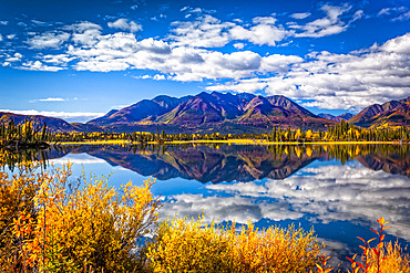 Mountain range reflects on Mentasta Lake with fall coloured foliage under blue sky, Tok cutoff from the Glenn Highway, South-central Alaska in autumn; Alaska, United States of America