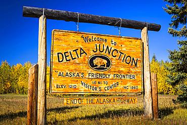 Welcome sign of Delta Junction, Interior Alaska in autumn; Delta Junction, Alaska, United States of America