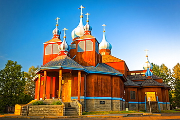 Sunset glow on St. Innocent Russian Orthodox Cathedral, South-central Alaska in summertime; Anchorage, Alaska, United States of America
