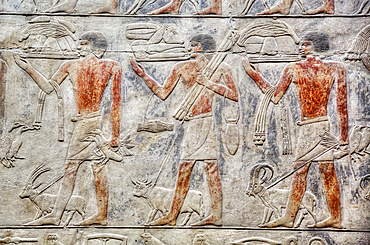 Reliefs, Mastaba of Kagemni, Necropolis of Saqqara, UNESCO World Heritage Site; Saqqara, Egypt