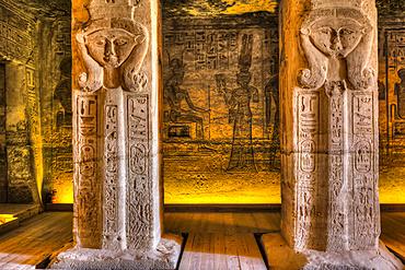 Square pillars, Goddess Hathor head, Temple of Hathor and Nefetari, Abu Simbel temples, UNESCO World Heritage Site; Abu Simbel, Egypt