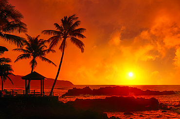 Dramatic sunrise over Uppers Beach Park with a glowing sky reflected red over the pacific ocean; Oahu, Hawaii, United States of America