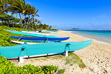 Lanikai Beach and kayaks on the white sand; Oahu, Hawaii, United States of America