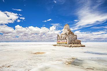 Monument to the Dakar Rally at Salar de Uyuni, the world's largest salt flat; Potosi Department, Bolivia