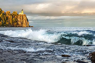 Split Rock Lighthouse with large waves on Lake Superior; Minnesota, United States of America
