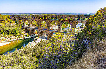 View of the ancient Roman aqueduct bridge, Pont du Gard; Gard, France