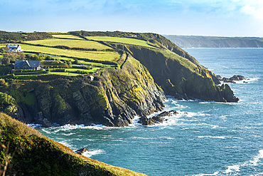Rocky cliff shoreline with patchwork green fields and blue sky; Cornwall County, England