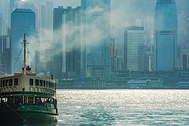 Star Ferry with Hong Kong backdrop; Hong Kong, China