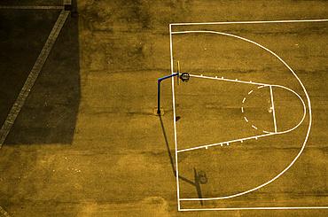 Aerial view of empty basketball court; Calais, Pas de Calais, France