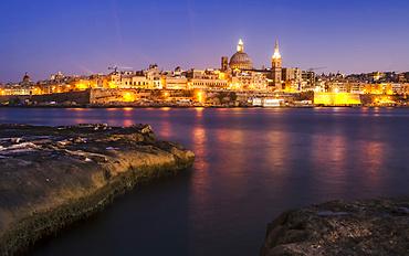 Twliight view of Valletta, the Maltese capital; Valletta, Valletta, Malta
