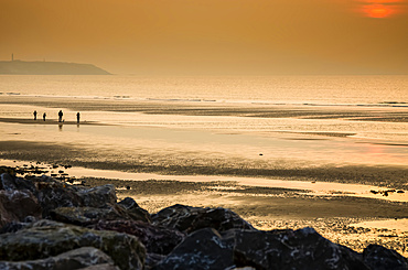 A family walks at sunset on a deserted beach in Northern France; Wissant, Nord Pas de Calais, France