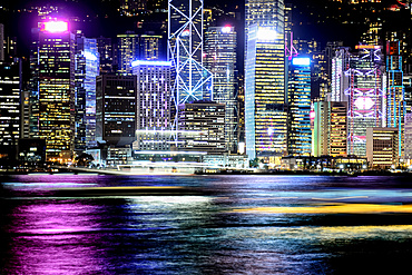 Night view of Hong Kong and moving light trails of boats; Hong Kong, Hong Kong Special Administrative Region (SAR), Hong Kong
