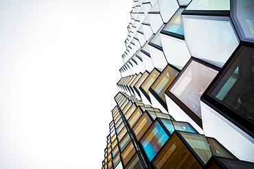 Abstract wide low angle details of windows, Harpa Concert Hall and Conference Centre; Reykjavik, Reykjavik, Iceland