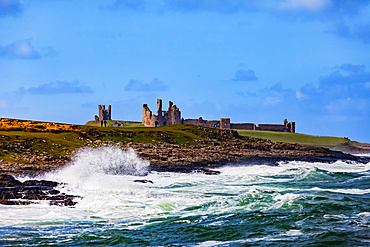 View Of Dunstanburgh Castle from Craster Harbour; Craster, Northumberland, England