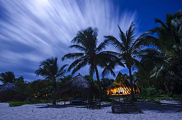 Long exposure of a beach taken at midnight in Mozambique; Benguera Island, Bazaruto Archipelago, Mozambique