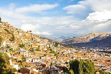 Hills of the city of Cusco, Peru in warm late afternoon light; Cusco, Cusco, Peru