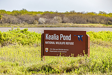 Kealia Pond National Wildlife Refuge sign indicating responsible government agencies. This refuge is located near Kihei, Maui; Maui, Hawaii, United States of America