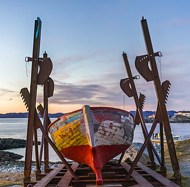 Boat sculpture at the waterfront; Nuuk, Sermersooq, Greenland