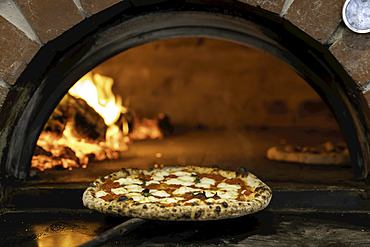 Margherita pizza being pulled from a wood-fired pizza oven; Melbourne, Victoria, Australia