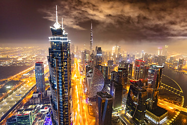 Downtown Dubai viewed from the Al Habtoor City complex; Dubai, United Arab Emirates