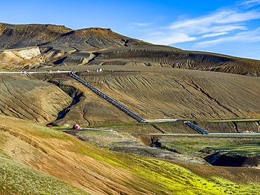 Pipeline in Eastern Iceland; Skutustadahreppur, Northeastern Region, Iceland
