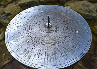 Viewing dial at Borgarvirki, at 177 meters above sea level it dominates the surrounding region. Made out of basalt strata, it has been used as a fortress for centuries; Hunaping vestra, Northwestern Region, Iceland