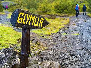 Tourists walking at the Glymur hiking trail. Glymur is the second-highest waterfall in Iceland, with a cascade of 198 metres; Hvalfjardarsveit, Capital Region, Iceland