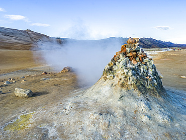 Geothermal spot noted for its bubbling pools of mud and steaming fumaroles emitting sulphuric gas; Skutustadahreppur, Northeastern Region, Iceland