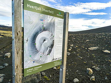The Hverfjall crater, a tephra cone or tuff ring volcano in Northern Iceland. The crater is approximately 1 kilometre in diameter; Skutustadahreppur, Northeastern Region, Iceland