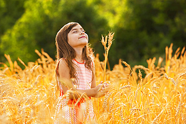 Young girl stands in a golden wheat field looking up with her eyes closed; Alberta, Canada