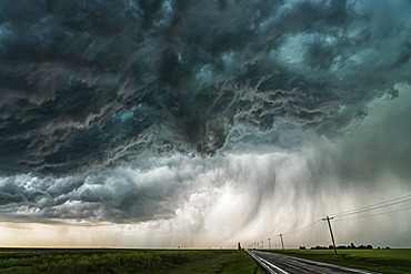 Amazing clouds over the landscape of the American mid-west as supercell thunderstorms develop; Nebraska, United States of America